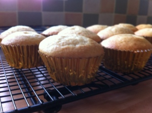 The baked cupcakes cooling on the rack. They are plain vanilla ones.