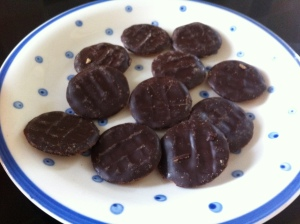 Mini Jaffa Cake cookies, these are Sainsbury's own brand ones which came in a little bag for about £1.