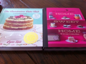 "My Clandestine Cake Club Cookbook (left) and the new Hummingbird Bakery ""Home Sweet Home"" book on the right"