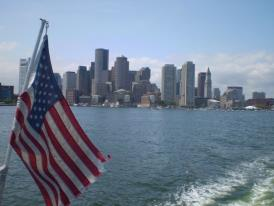 The Boston Skyline as seen from a catamaran on the way to Salen.