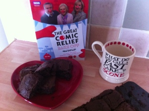 Chewy, gooey brownies. The recipe is featured in the Comic Relief Bake Off book.