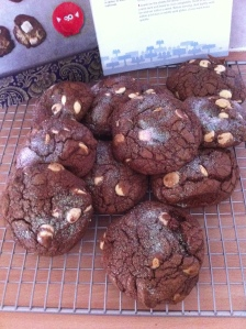 Atzec Cookies using melted dark chocolate buttons in the dough but mixed in whole white chocolate ones. Absolutely delicious according to my family!