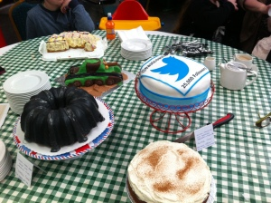 Here are all the delicious cakes laid out on the table ready for our Cake Club to start.