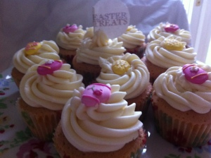 More vanilla cupcakes topped with buttercream icing. This time I added a readymade sugar Easter egg shape from Culpitt.