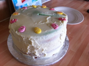 My version of the Easter Rainbow Cake as found on BBC Good Food's website.