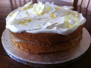 Finished and ready to take for the Clandestine Cake Club event, my version of Delia Smith's Lemon Layer Cake.