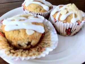 The better of the muffins!  Lots of lovely, luscious cherries to be seen inside the cake!