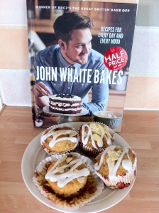 Cherry Bakewell Muffins, recipe on page 155 of John Whaite Bakes
