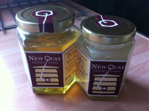 My two jars of honey- one runny, the other set. As you can see, we have already been eating it!