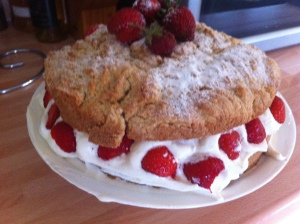 The utterly scrumptious Strawberry Shortcake from the Clandestine Cake Club Cookbook.