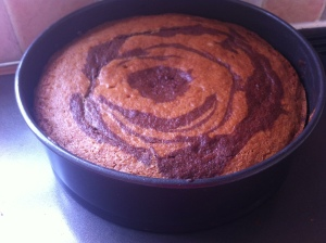 The chocolate orange zebra cake just out of the oven and waiting to cool down!