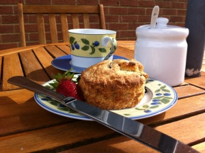 Afternoon tea outside in my garden before the heavens opened!