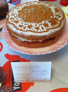 Fatless Harrogate Sponge all ready for the Clandestine Cake Club event.