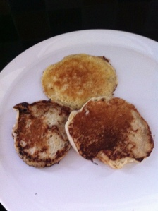 Drop scones cooked two or three at a time, some burned slightly but they still tasted fantastic.