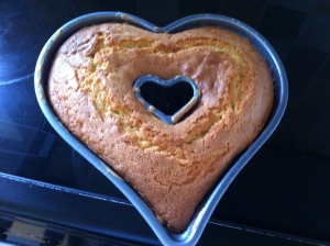 The finished cake baked and cooling in my new NordicWare heart bundt pan.
