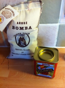 A 500g bag of authentic Arroz for paella and a jar of pimenton.