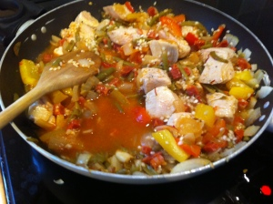 Chicken and Chorizo was added to one pan.