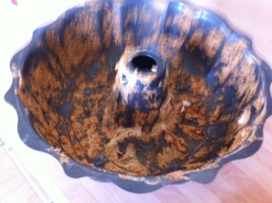 I should have greased the pan!  This is what was left when the cake came out of the tin.  Not very easily, I hasten to add!