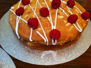 This is Amanda Woodward's Raspberry Cakewell. Its like a Bakewell tart but in cake form!