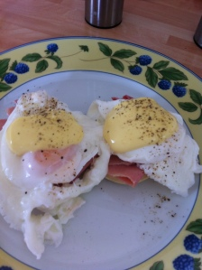 Two halves of a muffin to make one of my all time favourite meals- Eggs Benedict!