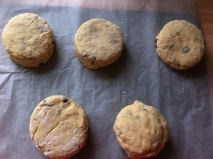 The scones are cut out with a plain cutter. This was meant to be a 6cm diameter one. I ended up with an 8cm one so I only got   6 scones out of an 8 scone recipe!