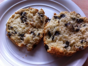 Split open and warm straight from the oven.  The scones tasted fab spread with butter and more tangy marmalade.