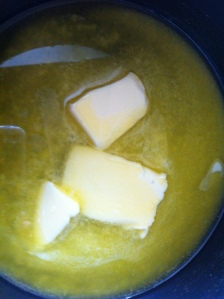 First butter was melted in a small pan over medium heat.