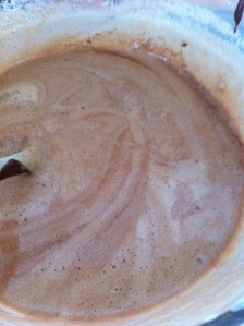 The wet ingredients were then folded in with  some wholemeal flour, cocoa powder and bicarbonate of soda.
