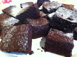 The brownies were cut up into 16 squares. I dusted them with a small sprinkling of icing sugar.