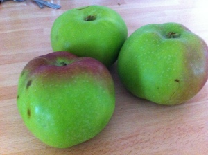 I used three large Bramley Apples given to me!