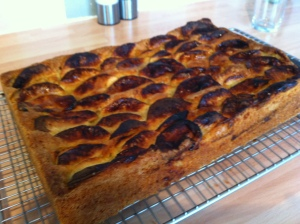 The Dorset Apple cake was turned out onto a wire rack to cool down.