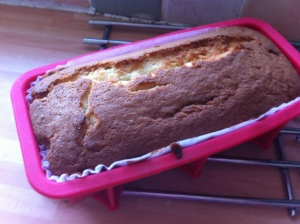 Here is the finished cake ready to cool down.