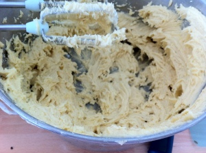 Butter, sugar, flour and eggs were creamed together in a large mixing bowl.