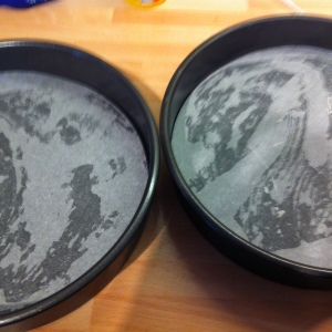 "Two 20cm/ 8"" diameter cake tins were greased and lined with baking parchment circles."