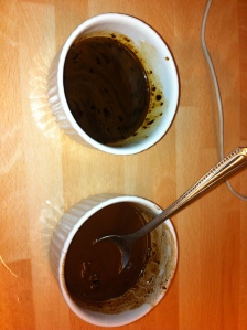 The two flavourings needed to make the Mocha Marble Cake.  One contains cocoa powder dissolved in boiling water, the other contains coffee granules also dissolved in water.