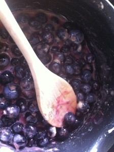 Stirring in the sugar and flour till it dissolved but I still wanted to keep the blueberries whole.