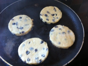 "Singing Hinnies ""singing"" away in the griddle pan.  They contained currants and were absolutely delicious!"