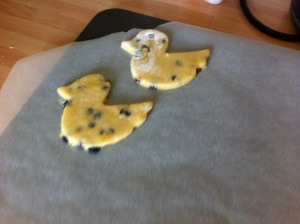 Chicks cut out of the Shrewsbury biscuit dough.