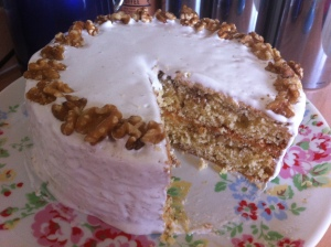 The Walnut Layer Cake with some slices cut out of it!