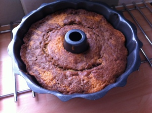 After about 40 minutes the cake was brought out of the oven.  I was pleased to see the marble pattern showing!