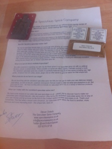 The special Speculaas Spice mix packet and background information sent to me from The Speculaas Spice Company.