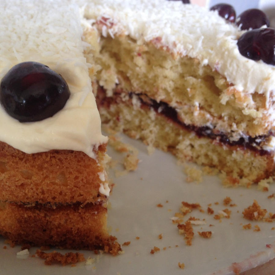 Coconut and Cherry Sponge Cake- Mercers of Yorkshire Cherry Jam.