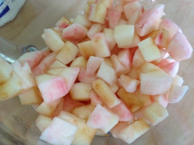 Two apples chopped up and ready.