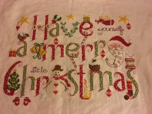My special Christmas project for 2016, a sampler designed by Nia Cross Stitch,