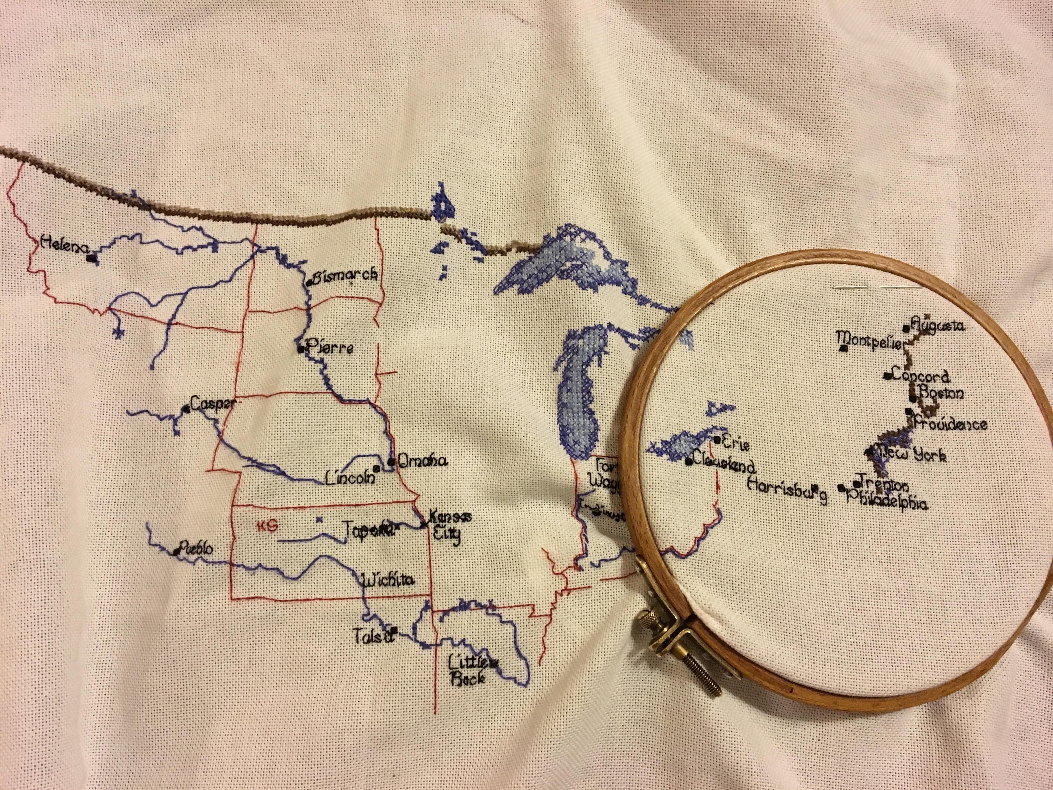 Heritage Crafts USA Cross Stitch Map SmartCookieSam