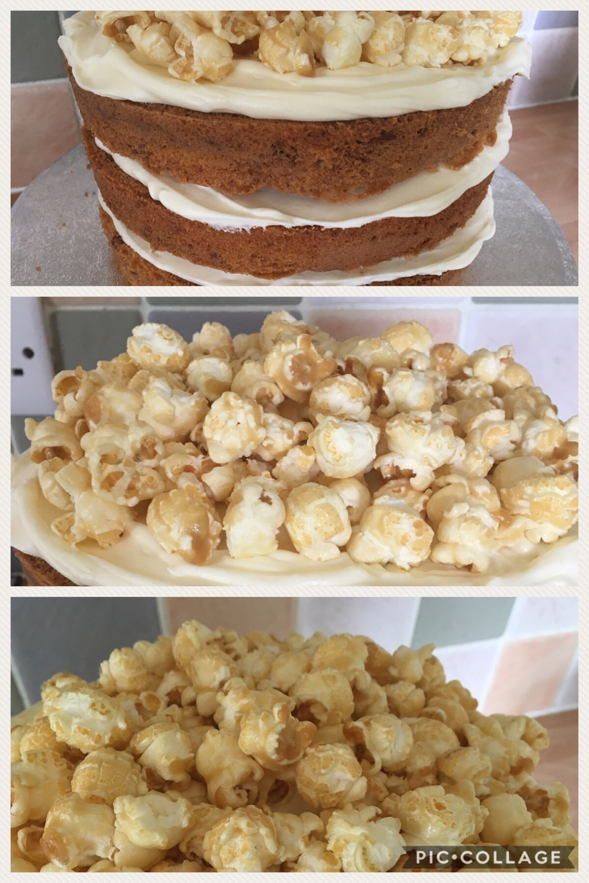Pecan Pie Popcorn Naked Cake SmartCookieSam